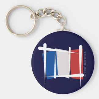 Bandera del cepillo de Francia Llavero Redondo Tipo Pin