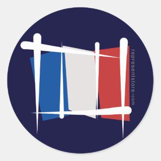 Bandera del cepillo de Francia Pegatina Redonda
