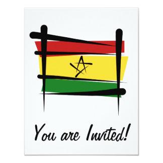 """Bandera del cepillo de Ghana Invitación 4.25"""" X 5.5"""""""