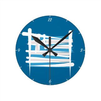 Bandera del cepillo de Grecia Reloj Redondo Mediano