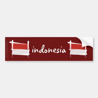 Bandera del cepillo de Indonesia Pegatina De Parachoque