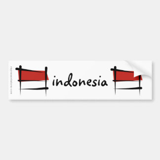 Bandera del cepillo de Indonesia Pegatina Para Auto
