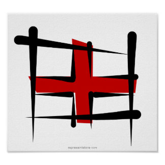 Bandera del cepillo de Inglaterra Póster