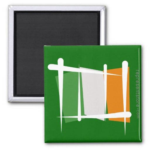 Bandera del cepillo de Irlanda Imán Cuadrado