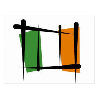 Bandera del cepillo de Irlanda Tarjeta Postal
