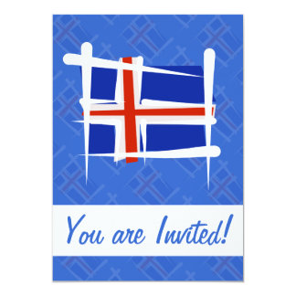 """Bandera del cepillo de Islandia Invitación 5"""" X 7"""""""