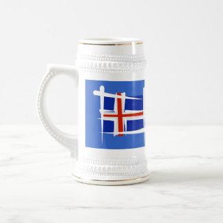 Bandera del cepillo de Islandia Jarra De Cerveza