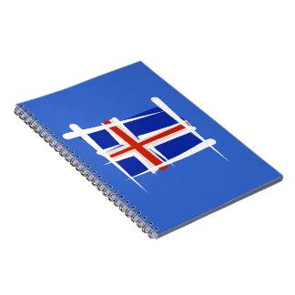 Bandera del cepillo de Islandia Libros De Apuntes Con Espiral