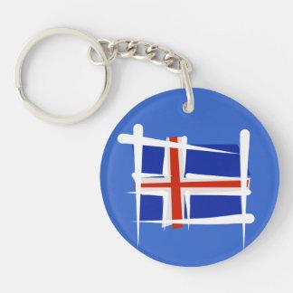Bandera del cepillo de Islandia Llavero Redondo Acrílico A Doble Cara