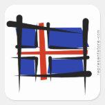 Bandera del cepillo de Islandia Calcomanía Cuadradas Personalizadas