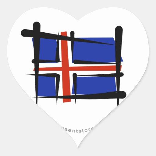 Bandera del cepillo de Islandia Pegatina En Forma De Corazón