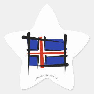 Bandera del cepillo de Islandia Pegatina En Forma De Estrella