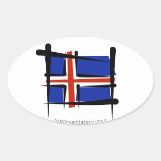 Bandera del cepillo de Islandia Pegatina Ovalada