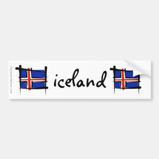 Bandera del cepillo de Islandia Pegatina Para Auto