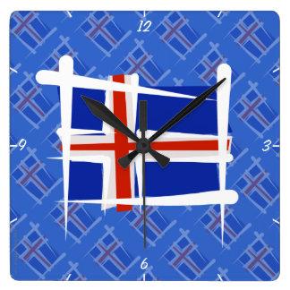 Bandera del cepillo de Islandia Reloj Cuadrado