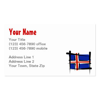 Bandera del cepillo de Islandia Tarjetas De Visita