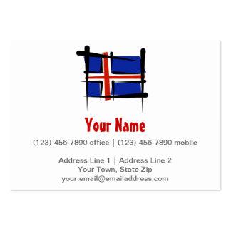 Bandera del cepillo de Islandia Tarjetas De Visita Grandes