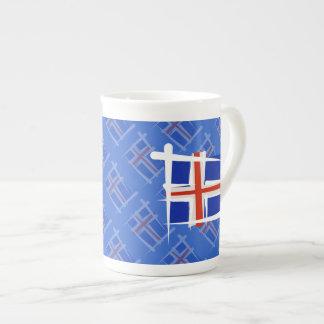Bandera del cepillo de Islandia Taza De Porcelana