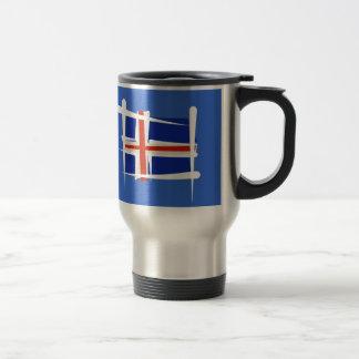 Bandera del cepillo de Islandia Taza De Viaje