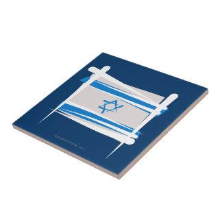 Bandera del cepillo de Israel Azulejo Cuadrado Pequeño