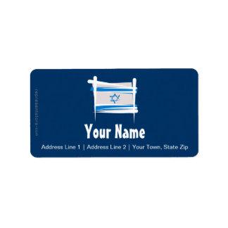 Bandera del cepillo de Israel Etiqueta De Dirección