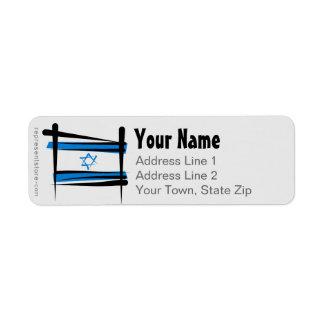 Bandera del cepillo de Israel Etiqueta De Remitente