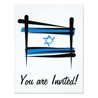 """Bandera del cepillo de Israel Invitación 4.25"""" X 5.5"""""""