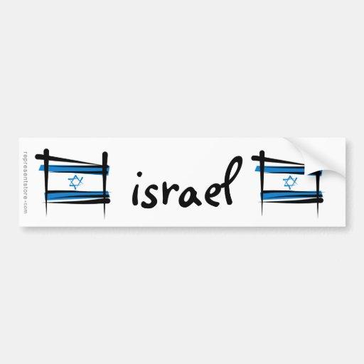 Bandera del cepillo de Israel Pegatina Para Auto
