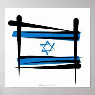 Bandera del cepillo de Israel Póster
