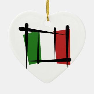 Bandera del cepillo de Italia Adorno Navideño De Cerámica En Forma De Corazón