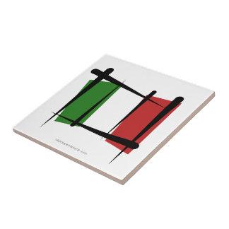 Bandera del cepillo de Italia Azulejo Cuadrado Pequeño