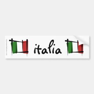 Bandera del cepillo de Italia Etiqueta De Parachoque