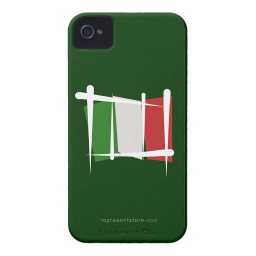 Bandera del cepillo de Italia Case-Mate iPhone 4 Fundas