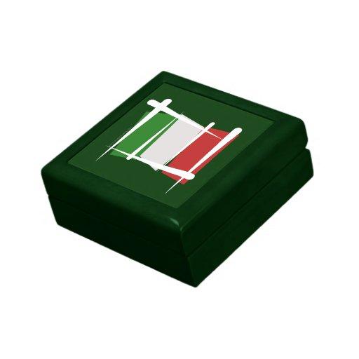 Bandera del cepillo de Italia Joyero Cuadrado Pequeño