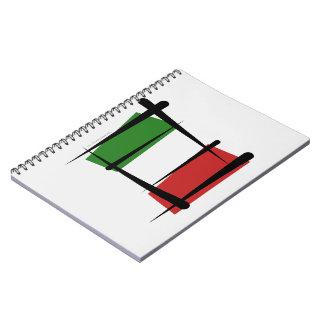 Bandera del cepillo de Italia Libreta Espiral
