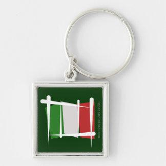 Bandera del cepillo de Italia Llavero Cuadrado Plateado