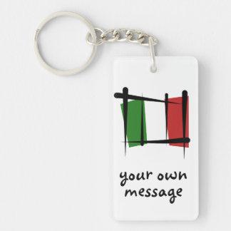 Bandera del cepillo de Italia Llavero Rectangular Acrílico A Doble Cara
