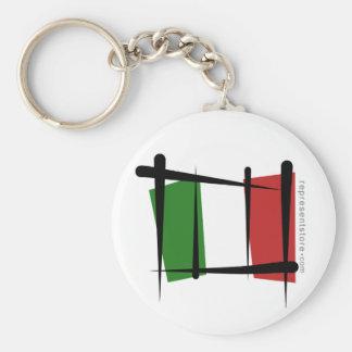 Bandera del cepillo de Italia Llavero Redondo Tipo Pin