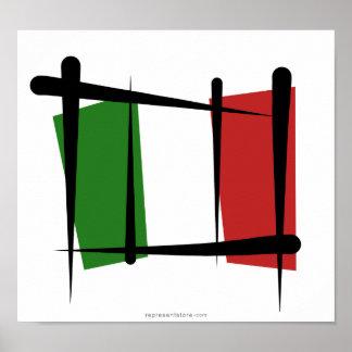 Bandera del cepillo de Italia Posters