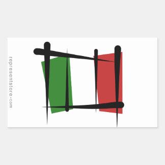 Bandera del cepillo de Italia Rectangular Pegatinas