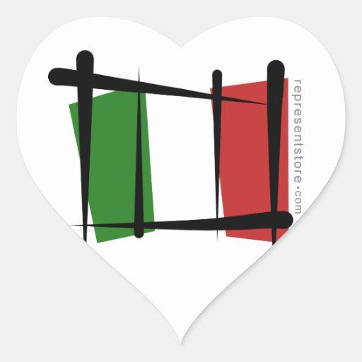 Bandera del cepillo de Italia Pegatina En Forma De Corazón