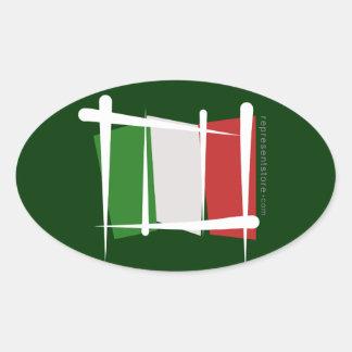 Bandera del cepillo de Italia Pegatina Oval