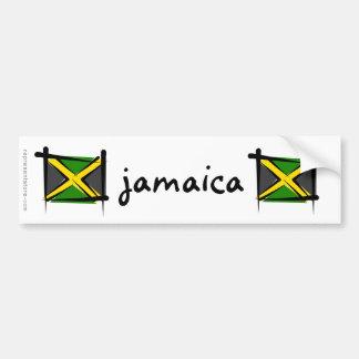 Bandera del cepillo de Jamaica Etiqueta De Parachoque