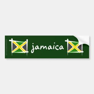 Bandera del cepillo de Jamaica Pegatina De Parachoque