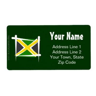 Bandera del cepillo de Jamaica Etiqueta De Envío