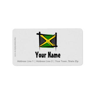 Bandera del cepillo de Jamaica Etiqueta De Dirección