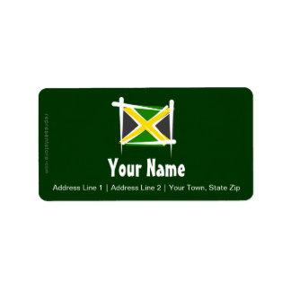Bandera del cepillo de Jamaica Etiquetas De Dirección
