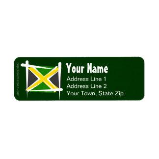 Bandera del cepillo de Jamaica Etiquetas De Remite