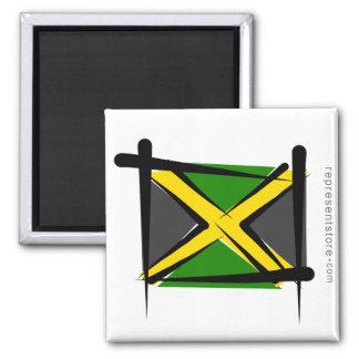 Bandera del cepillo de Jamaica Imán Cuadrado