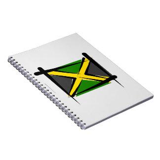 Bandera del cepillo de Jamaica Libros De Apuntes Con Espiral